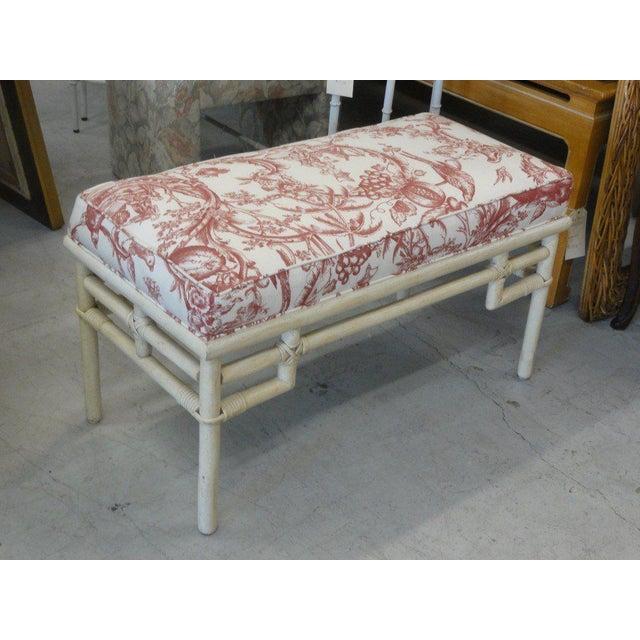 Vintage Ficks Reed Rattan Upholstered Bench - Image 5 of 5