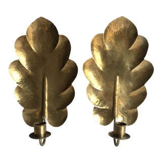 Swedish Brass Candle Sconces, a Pair