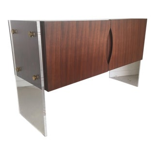 Mid-Century Modern Milo Baughman Compact Rose Wood & Lucite Sideboard For Sale