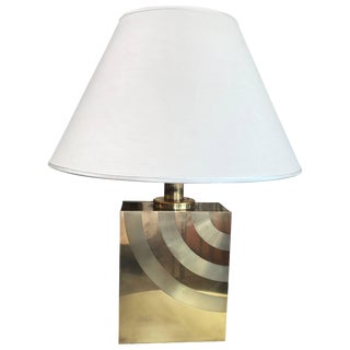 Italian 1960s Brass Table Lamp With Striped Detail For Sale