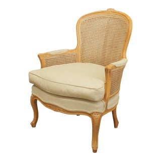 Fogle Furniture Co. Chanel Finish French Louis XV Style Caned Bergere Chair For Sale