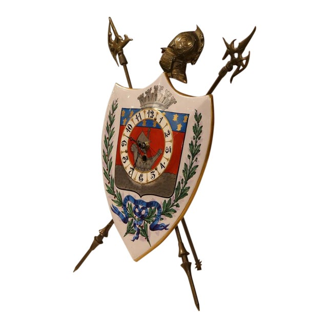 19th Century French Porcelain & Brass Desk Clock With Paris Coat of Arms For Sale