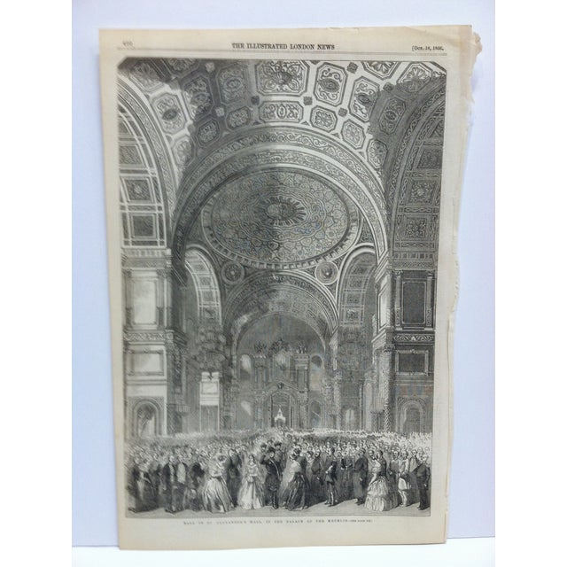 """This is an Antique The Illustrated London News Print that is titled """"Ball in St. Alexander's Hall in The Palace of the..."""