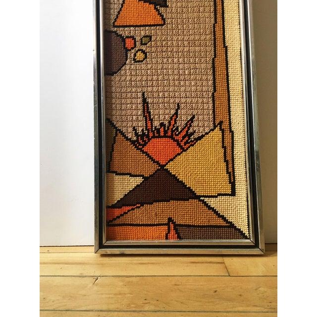 1970s Vintage Framed Judaica Needlepoint Art For Sale - Image 5 of 8