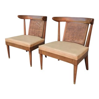 1950's Mid Century Modern Tomlinson Sophisticate Style Cane Back Lounge Chairs- A Pair For Sale