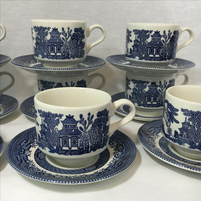 Blue Willow Teacups and Saucers - Set of 9 - Image 3 of 6