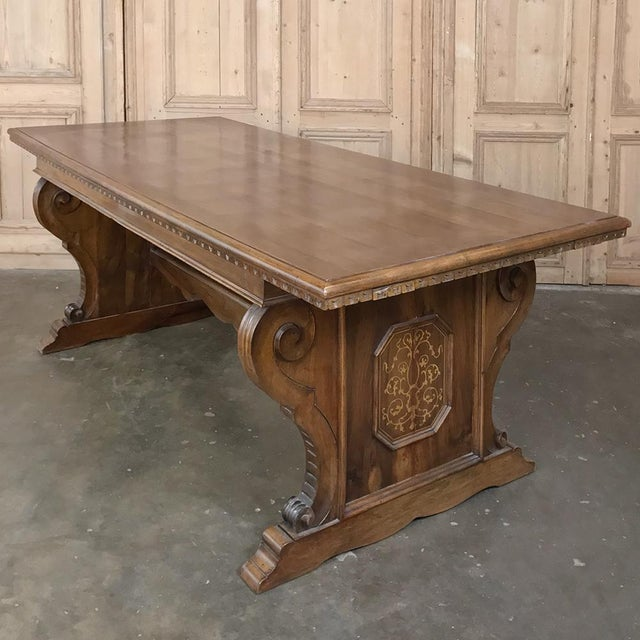 Antique Italian Baroque Inlaid Walnut Draw Leaf Dining Table For Sale In Dallas - Image 6 of 13