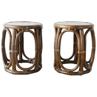 Pair of McGuire Rattan Taborette Drink Tables or Stools For Sale
