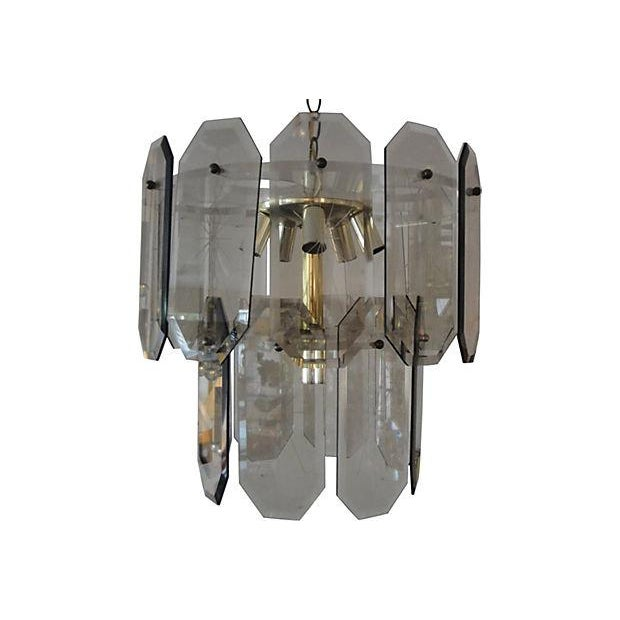 1960's Smoked Glass, Lucite and Brass Chandelier | Chairish