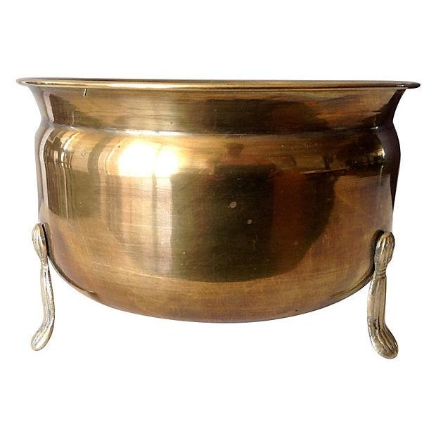 Brass 3-Legged Tassel Footed Cachepot For Sale