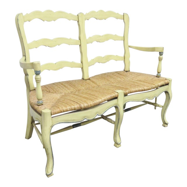 Country French Yellow Painted Rush Seat Settee For Sale