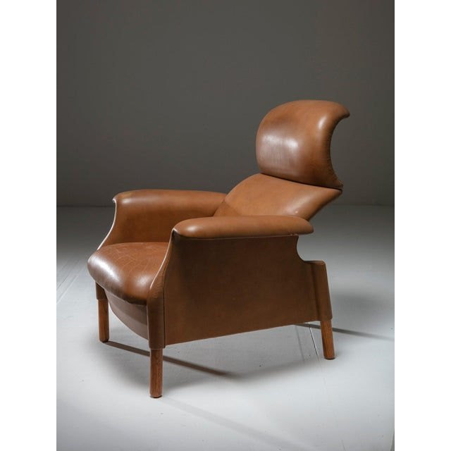 "Brown ""Sanluca"" Leather Lounge Chairs by Castiglioni for Gavina For Sale - Image 8 of 8"