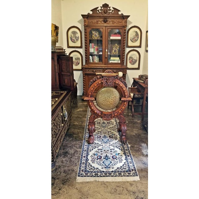 Early 19th Century French Provincial Dinner Gong, Large, Heavily Carved Oak and Brass For Sale In Dallas - Image 6 of 8