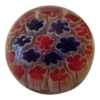 Vintage Millefiori Red and Blue Murano Blown Glass Paperweight For Sale