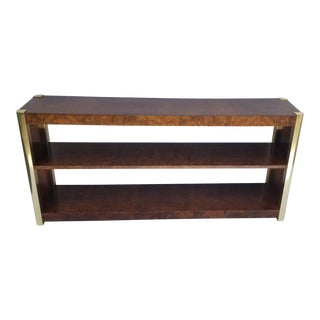 Milo Baughman Style Burlwood and Brass Sofa Console For Sale
