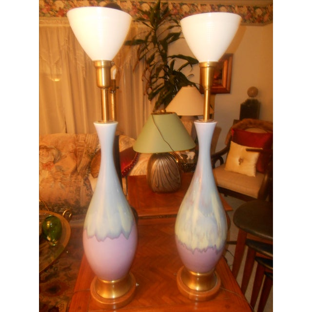 Mid Century Modern Volcano Drip Table Lamps - Pair - Image 8 of 9