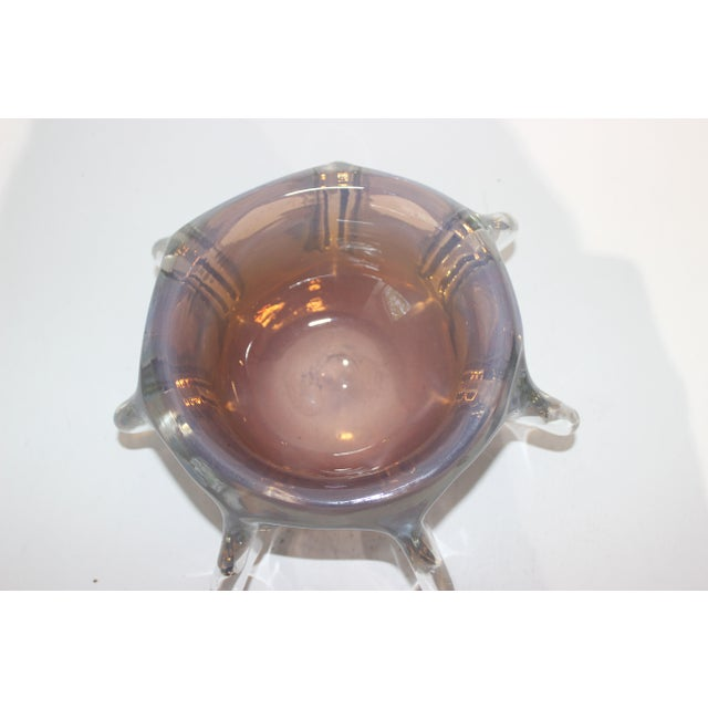 Murano Opaline Pinched Glass Bowl in Blue and Amber Tones Mid-Century Modern Italian 1960s For Sale In West Palm - Image 6 of 10