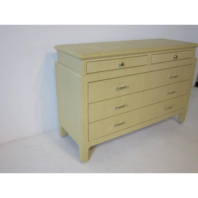 Tan Steve Chase Styled Linen Grass Cloth Dresser Commode For Sale - Image 8 of 8