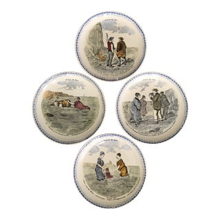 Vintage French Creil Et Montereau Transferware Plates ~ Set of 4 For Sale