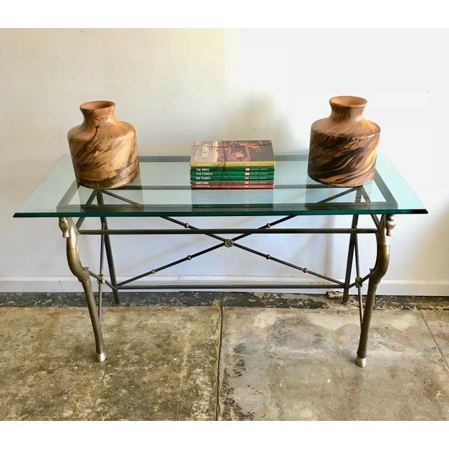 Vintage Glass and Brass Italian Console Table with Seahorse Motif For Sale In Los Angeles - Image 6 of 8