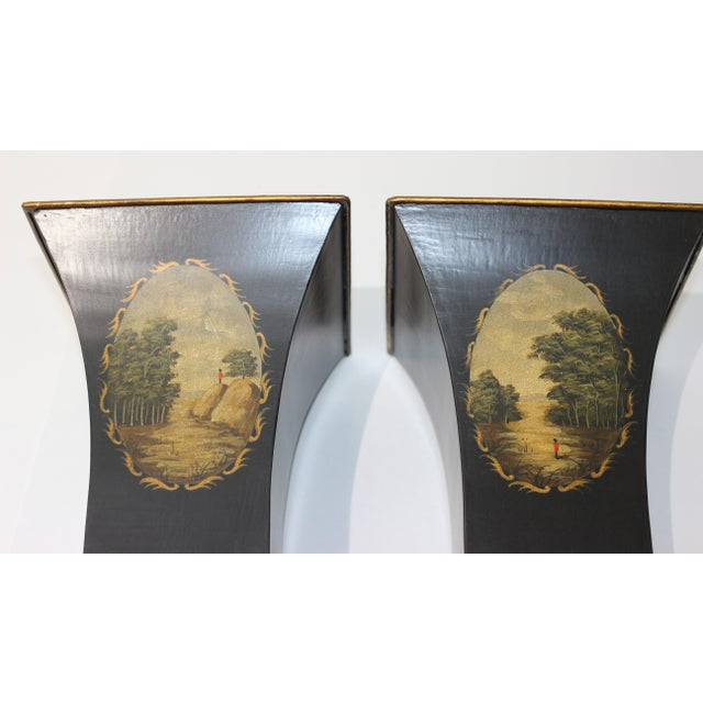Metal Vintage Dark Green Cachepot - a Pair For Sale - Image 7 of 9