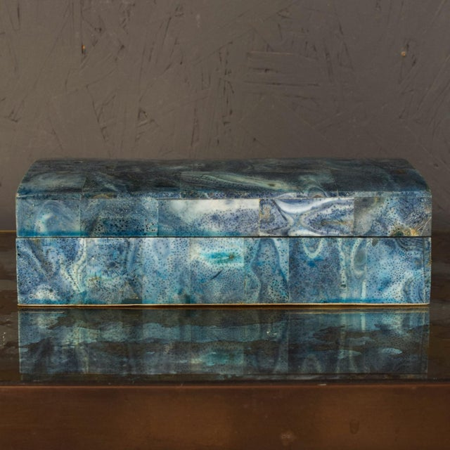 Vintage Modern Stingray Leather Blue Lacquered Jewelry Keepsake Box For Sale In San Diego - Image 6 of 10