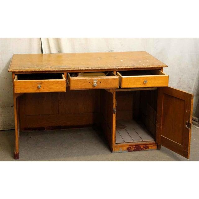 Restorable Oak Wood Library Desk - Image 4 of 8