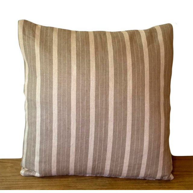Contemporary Rogers & Goffigon Linen Striped Pillow Covers - a Pair For Sale - Image 3 of 5