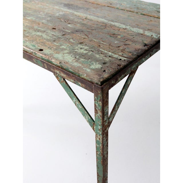 Vintage Wood Top Work Table For Sale - Image 9 of 11