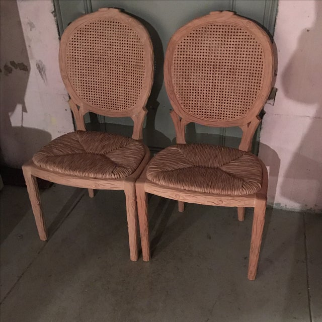 Tan Faux Bois Dining Chairs - Pair For Sale - Image 8 of 10
