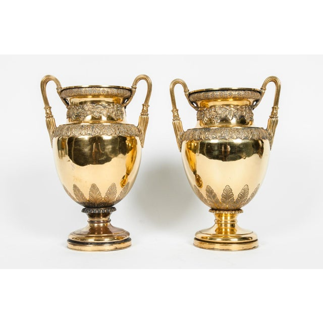 Old English decorative pair bronze vases / Pieces with detachable holding insert. Each one is in excellent antique...