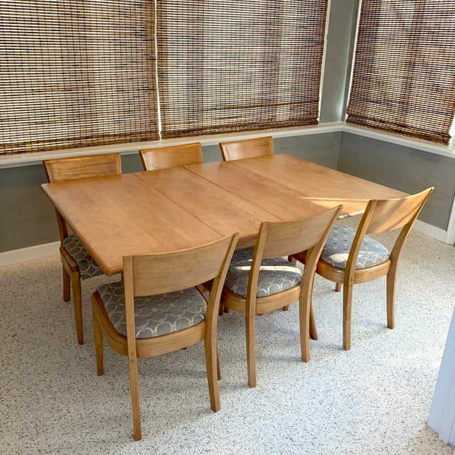 Mid-Century Modern Heywood-Wakefield Harmonic Drop Leaf Dining Table Set - 7 Pieces For Sale - Image 13 of 13