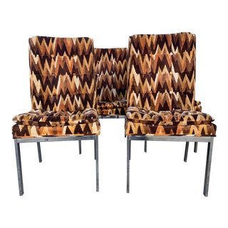 1970s Chrome and Chevron Flamestitch Dining Chairs- Set of 4 For Sale