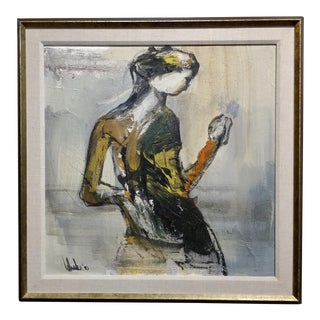 1975 Abstract Female Figure Oil Painting by Gino Hollander For Sale