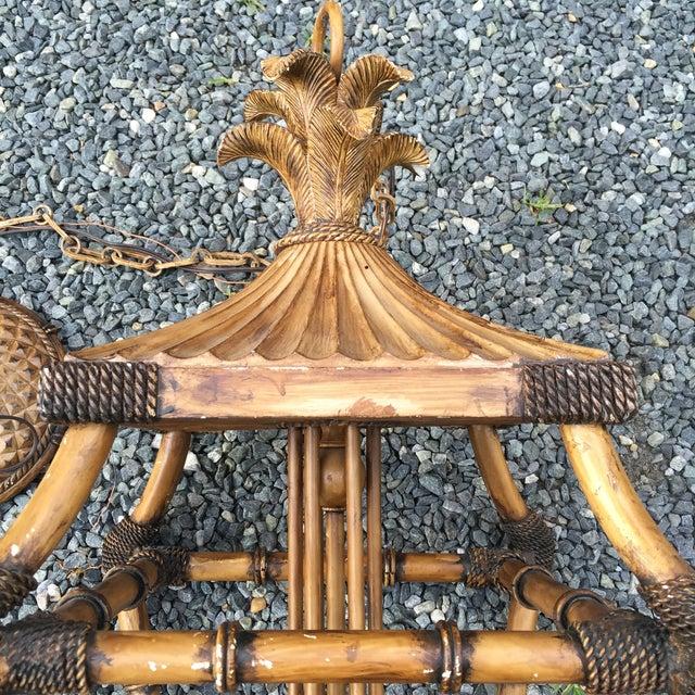 Faux Bamboo Pagoda Palm 6 Light Lantern Chandelier - Image 10 of 11