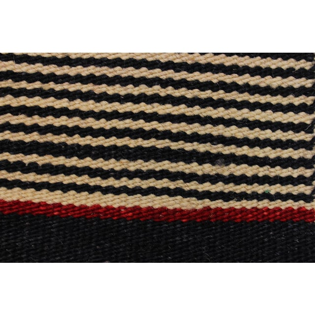 2000 - 2009 Modern Abstract Kilim Aleen Black Hand-Woven Wool Rug -5′7″ × 8′ For Sale - Image 5 of 8