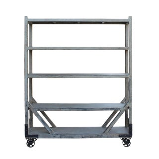 Distressed Gray Display Shelving on Wheels For Sale