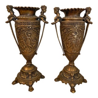 Antique Neoclassical French Figural Table Urn - a Pair For Sale
