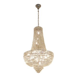 New Art Deco Crystal Chandelier Empire Sac a Pearl Palace Lamp Chateau Lustre For Sale