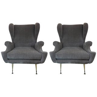 Mid Century Vintage Gio Ponti Inspired Italian Armchairs- A Pair For Sale
