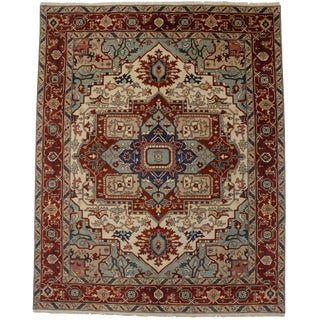 Rusty Red Geometric 8x10 Serapi Heriz Oriental Rug For Sale