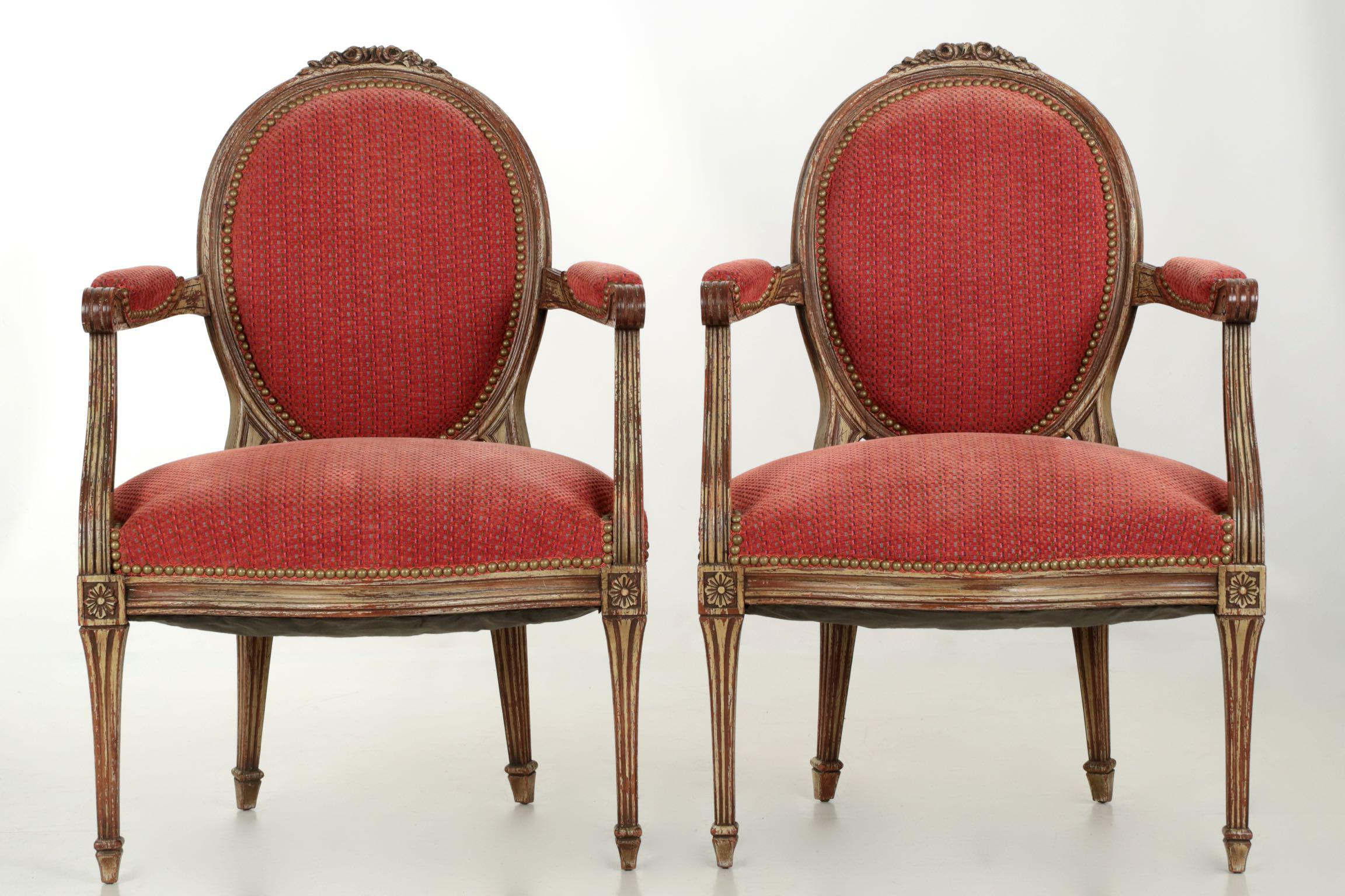 Vintage French Louis XVI Style Gray Painted Fauteuil Arm Chairs a