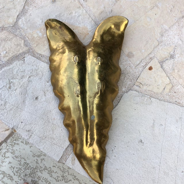 Gold 1940s West Virginia Metalcrafters Heavy Solid Brass Calla Lily Sculptured Bowl For Sale - Image 8 of 13