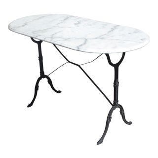 Beautiful French Iron Marble Bistro Table Circa 1950s