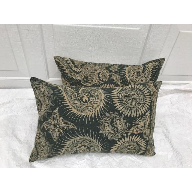 Asian Serpent Gray Batik Pillows - A Pair - Image 3 of 11
