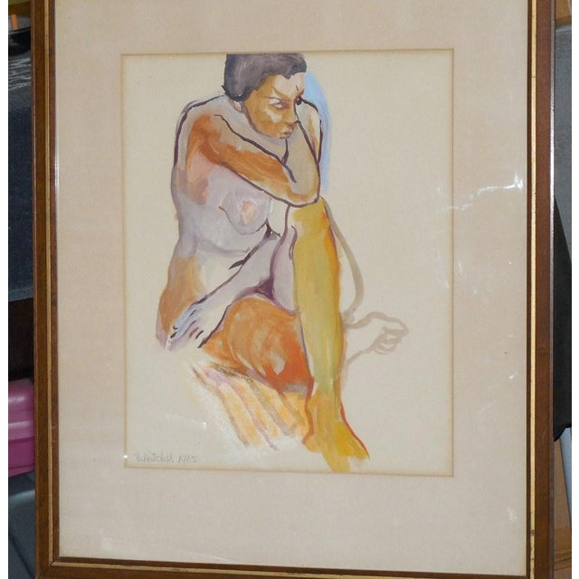 1965 Vintage Nude Watercolor on Paper Painting - Image 7 of 7