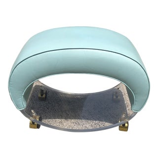 1980s Postmodern Oval Curved Lucite Vanity Stool Chair For Sale