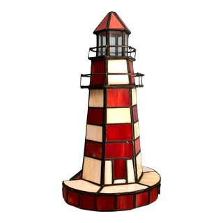 Vintage Stained Glass Lighthouse Potable Lamp