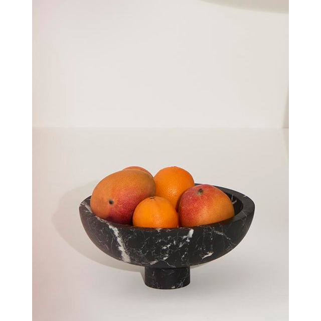 Fruit Bowl in Black Marble by Karen Chekerdjian, Made in Italy For Sale - Image 9 of 10
