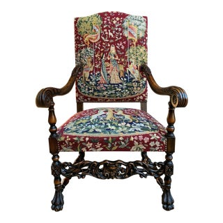 Antique French Carved Walnut Fireside Dining Arm Chair For Sale